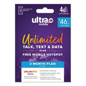 Ultra Mobile 3-Month Plan - Unlimited Data per Month (Email Delivery)