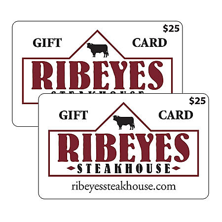 Ribeye's Steakhouse $50 Value Gift Cards - 2 x $25