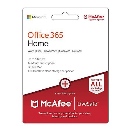 Microsoft Office 365 Home McAfee LiveSafeMP - Sam's Club