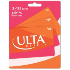 Ulta Cosmetics $55 Value Gift Cards - 2 x $25 Plus $5 Bonus