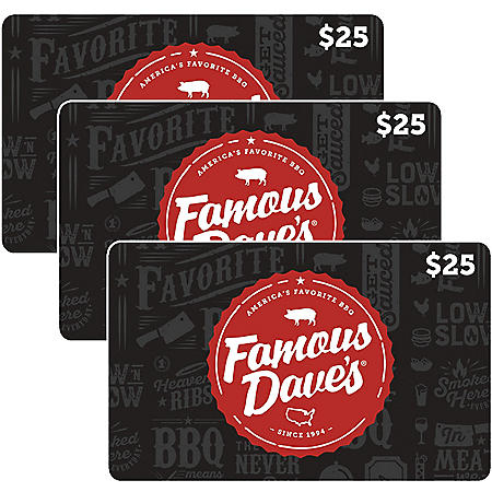 Famous Dave's $75 Value Gift Cards - 3 X $25