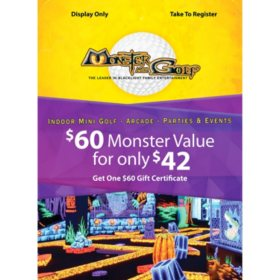 Monster Mini Golf $60 Value Gift Certificate