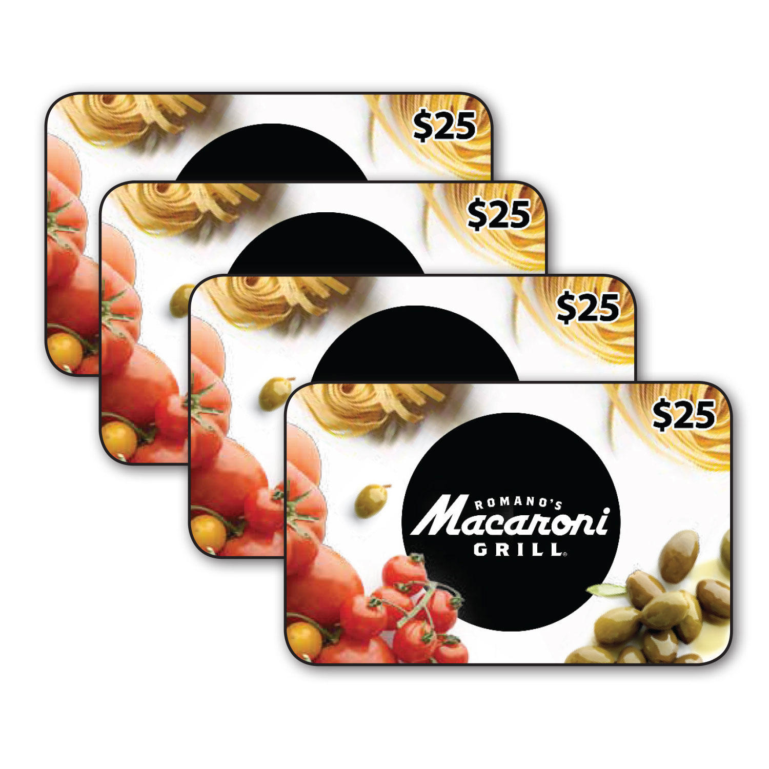 $100 (4 x $25) Romano's Macaroni Grill Gift Cards