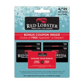 Red Lobster $100 Value Gift Cards - 4 x $25 Plus Free Appetizer