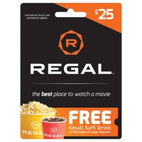 Regal Cinemas $25 Gift Card + Free Small Drink with Large Popcorn Purchase (exp 1/31/21)