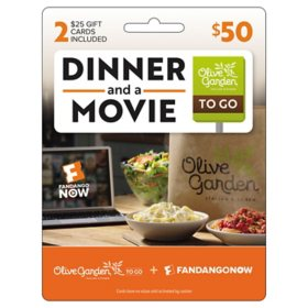 Olive Garden and FandangoNow $50 Value Gift Cards – 2 x $25