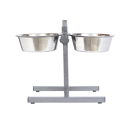 Iconic Pet Adjustable Stainless Steel Pet Double Diner for Dogs (Choose Your Size)