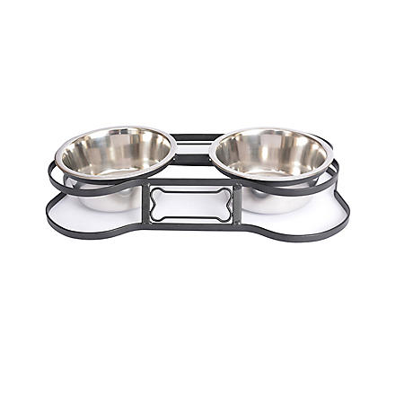 Iconic Pet Heavy Duty Pet Double Diner, Bone Design (Choose Your Size)