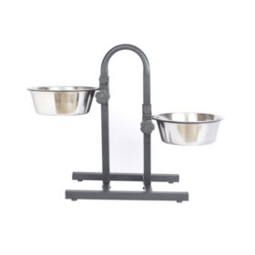 Iconic Pet Adjustable Stainless Steel Pet Double Diner, U Design (Choose Your Size)