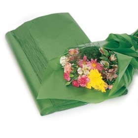 Floral Green Waxed Tissue (480 sheets)