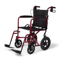 """Aluminum Transport Wheelchair with 12.5"""" Wheels - Red"""