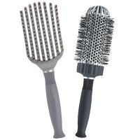 """KareCo Tangle Buster Styler & Large 3"""" Ceramic Round Thermal Hair Brush Set"""