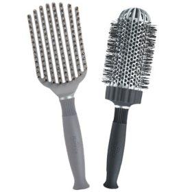 """KareCo Tangle Buster® Styler & Large 3"""" Ceramic Round Thermal Hair Brush Set"""