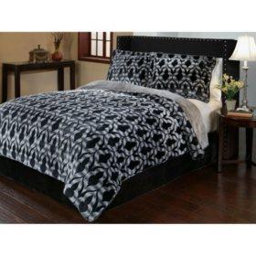 Sun-Yin Velvet Plush Merekesh Comforter Set, 3-piece