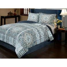 Sun-Yin Velvet Plush Azura Comforter Set, 3-piece