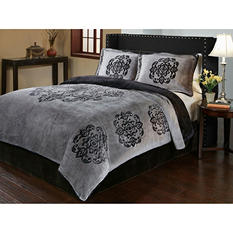 Sun-Yin Velvet Plush Medallion Comforter Set, 3-piece