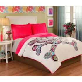 Sun-Yin Velvet Plush Punk Love Comforter Set, 3-piece