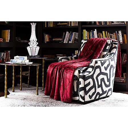 Fraiche Maison Hot Pressed Velvet Plush Blanket, Rumba Red