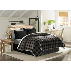 Sun-Yin Velvet Plush Grey Plaidlands Comforter Set, 3-piece