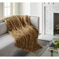 """Crafted by Catherine 50"""" x 60"""" Faux Ruched Rabbit Fur Throw (Assorted Colors)"""