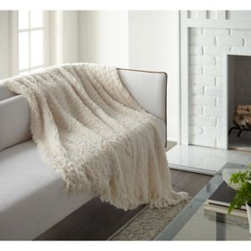 "Crafted by Catherine Fringe Knit Rabbit Ivory Fur Throw, 50"" x 60"""
