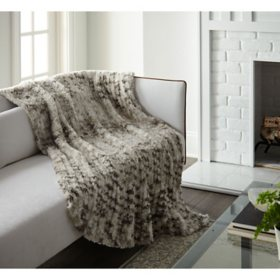 Crafted by Catherine Yarn Dye Faux Rabbit Fur 50x60 Throw