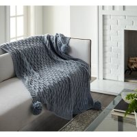 """Crafted by Catherine PomPom Sweater Knit Throw, 50"""" x 60"""" (Assorted Colors)"""