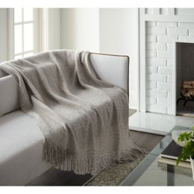 "Crafted by Catherine Faux White Mohair Throw, 50"" x 60"""