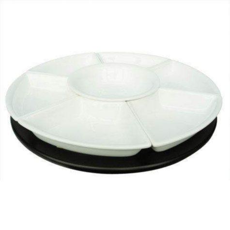 White Earthenware Lazy Susan - 8 pc.