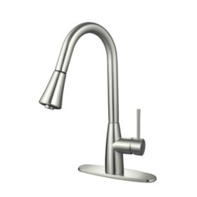 Hardware House Single Handle Gooseneck Kitchen Faucet with Sprayer
