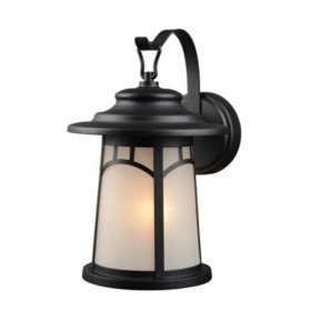 Hardware House Wall-Mounted Lantern with Frosted Glass - Textured Black