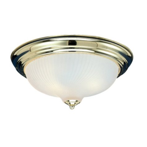Hardware House 2-Light Flush Mount Ceiling Fixture - Polished Brass
