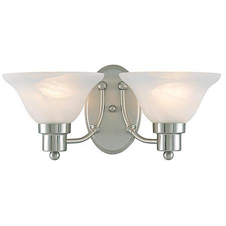 Hardware House Bristol 2-Light Bath/Wall Light - Brushed Nickel