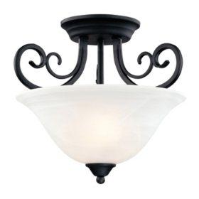 Hardware House Tuscany 2-Light Semi-Flush Ceiling Fixture - Textured Black