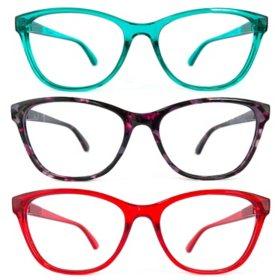 KEO Women's Lena Blue Light Filtering Glasses (3 pk.)