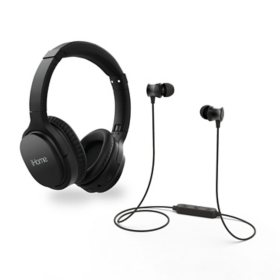 iHome Wireless Combo Pack with Active Noice Cancelling Headphones and Wireless Earbuds