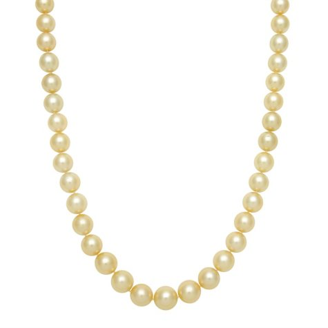 """10.0-12.0mm 17"""" Round Golden South Sea Pearl Necklace in 14K Yellow Gold"""