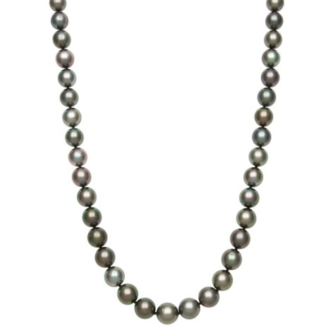 8.0-10.0mm Cultured Tahitian Black Pearl Necklace in 14K White Gold