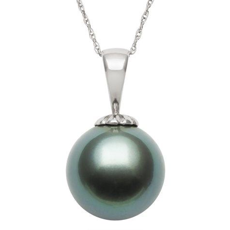 11.0-12.0mm Tahitian Black Pearl Pendant in 14K White Gold