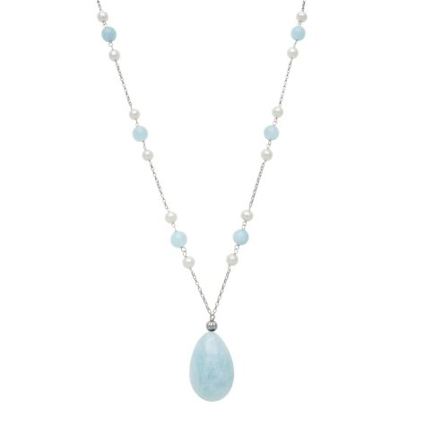 Cultured Freshwater Pearl and Aquamarine Necklace in Sterling SIlver