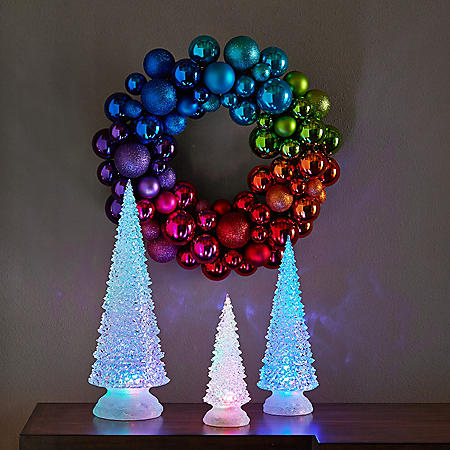 3-Piece Color-Changing LED Tree Set with Remote Control