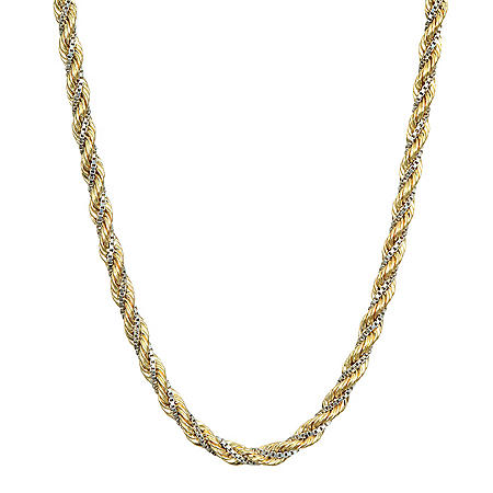 14K Two-Tone Hollow Twist Rope and Box Chain Necklace