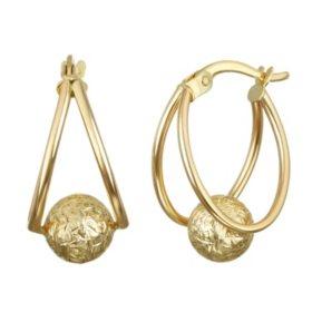 14k Yellow Gold Diamond Cut Ball Hoop