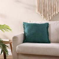 """Brielle Home Ivy Green Stonewashed Decorative Throw Pillow, 18"""" x 18"""""""