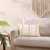 """Brielle Home Milo Yellow Textured Decorative Throw Pillow with Tassels, 14"""" x 20"""""""