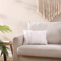 "Brielle Home Lennon White Textured Decorative Throw Pillow, 12"" x 18"""
