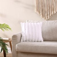 Brielle Home Remy Stone Washed Tufted Stripe Decorative Throw Pillow, 18 x 18 (Assorted colors)