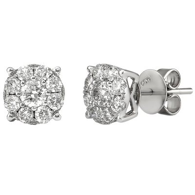 Details about  /1//4 to 2 ct Round-Cut Diamond Stud Earrings in 14K White Gold
