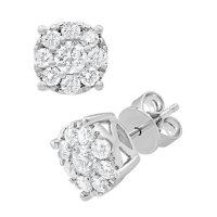 1.00 CT. TW. Round Cut Diamond Stud Earrings in 14K White Gold