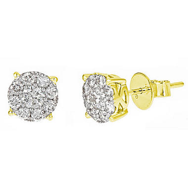 1 ct. t.w. Round Cut Diamond Stud Earrings in 14K Yellow Gold H-I, I1
